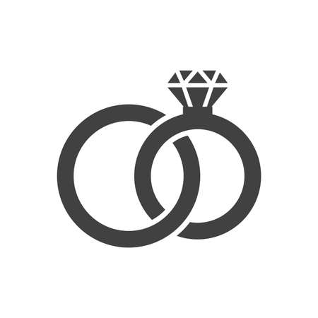 Tangled wedding rings black vector icon. Bride and groom, diamond ring simple glyph symbol.