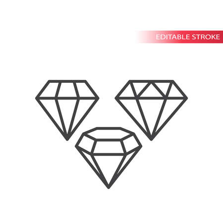 Diamond shape line vector icon set. Diamonds jewel stone outline icons, editable stroke.