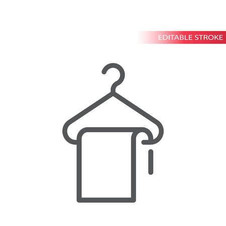 Hanger and a cloth line vector icon. Dry cleaning or bathroom outline sign, editable stroke. Ilustração
