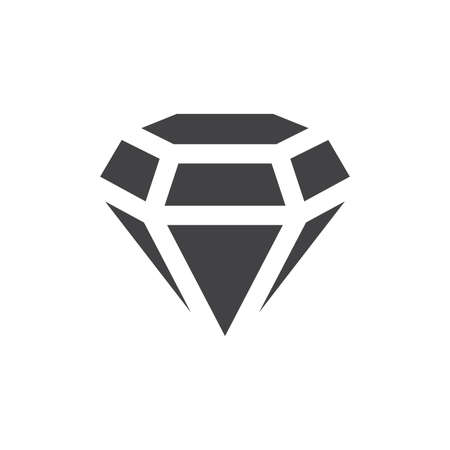Diamond gemstone black vector icon. Simple diamond stone glyph symbol.