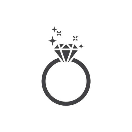 Diamond shiny ring black vector icon. Engagement ring simple glyph symbol. Ilustração