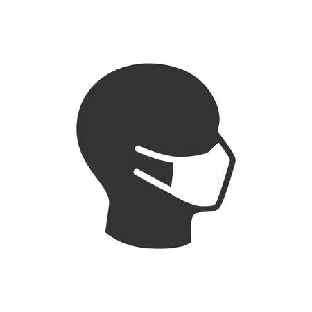 Human face with surgical or medical mask. Face mask black vector icon.