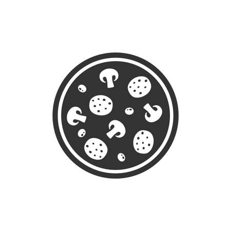 Round pizza simple vector icon. Black pizza symbol with salami, olives and mushrooms. Illustration