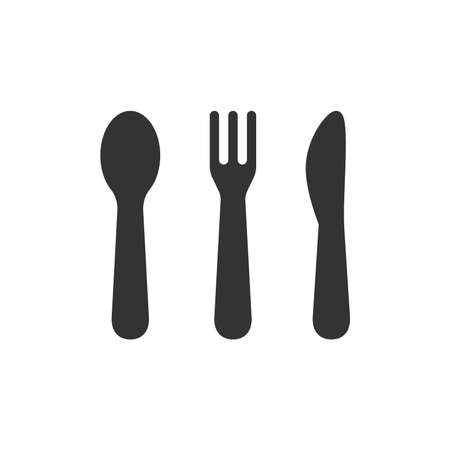 Table cutlery or utensils black vector icons. Knife, spoon and fork icon set. Illustration
