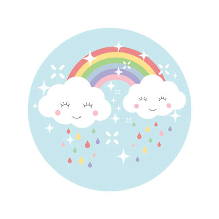 Clouds and rainbow colorful cartoon design. Rainbow, happy cute cloud and rain drops illustration template for t-shirt, print, sticker.