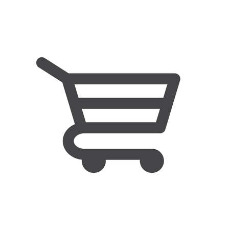 Shopping cart black vector icon. Trolley cart web symbol, online store glyph icon.