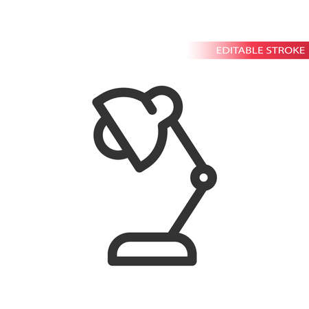 Desk lamp simple line vector icon.  Outline symbol, editable stroke. Illustration
