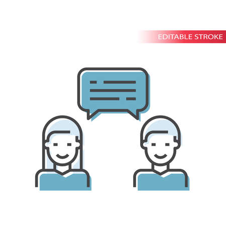 Man and woman with speech bubble icon. Conversation, messaging or chat on social media line vector symbol, editable stroke.