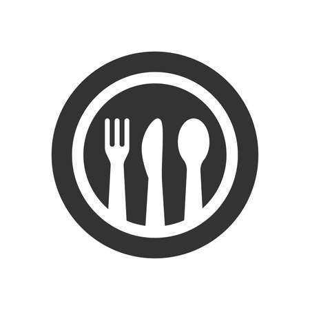 Spoon, knife, fork and a plate vector icon. Meal, restaurant logo glyph symbol. Illustration