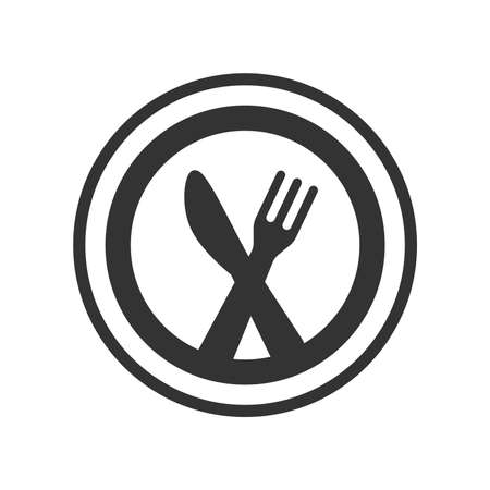 Knife, fork and a plate black vector icon. Meal, restaurant logo glyph symbol. Illustration