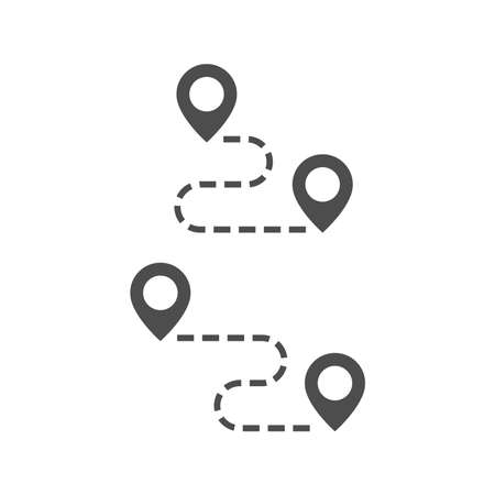 Road map black vector icon. Location pin with dashed route line glyph symbol. Illustration