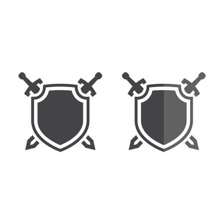 Shield and crossed swords vector icon.