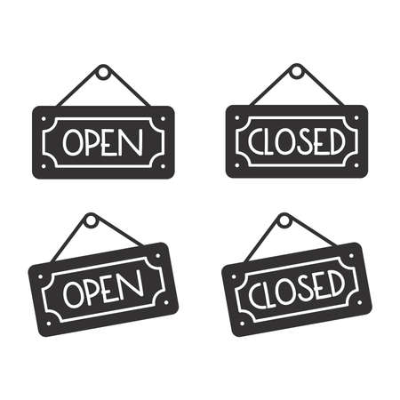Open and closed sign vector icon