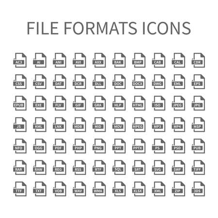 File type vector icons. File format icon set, files buttons. Illustration