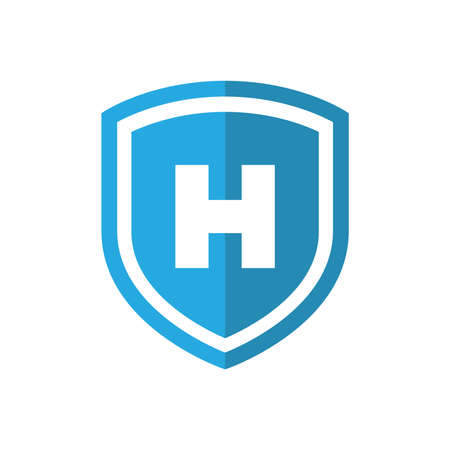 Shield with H sign vector icon. Blue hospital symbol.