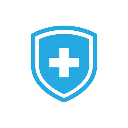 Shield with medical cross sign vector icon. Blue hospital or medicine symbol.