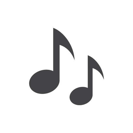 Music notes vector icon. Simple notes black glyph symbol. Illustration