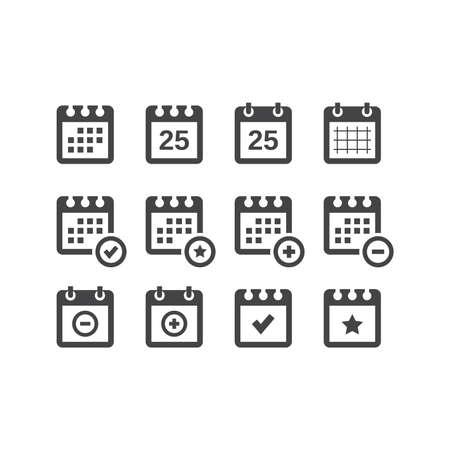 Calendar black vector icon set. Calender with date, star, plus and minus sign glyph icons. Ilustração