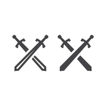 Crossed arms black vector icon. Medieval swords glyph war or battle in game symbol.