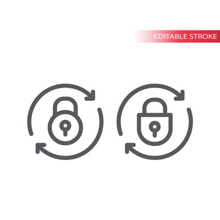 Lock reload line vector icon. Illustration