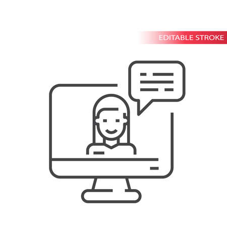 Online help chat vector icon. Girl, computer monitor and chat bubble, customer support, contact symbol, editable stroke.