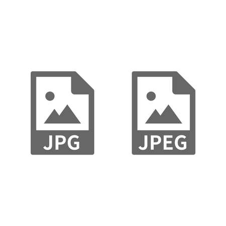 Jpg and jpeg file vector icon isolated on white Ilustração