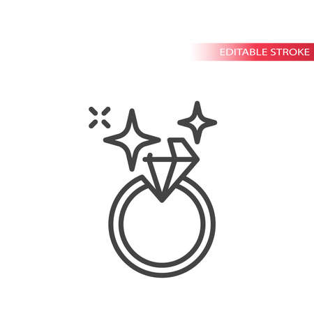 Shiny diamond ring line vector icon. Wedding or engagement ring editable stroke symbol.