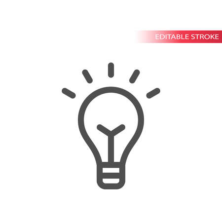 Lightbulb simple line vector icon. Light bulb editable stroke symbol.