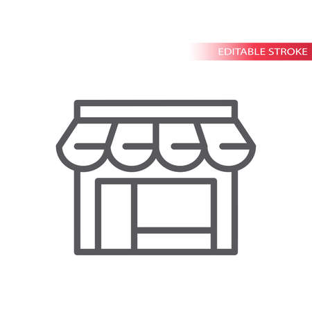 Storefront thin line vector icon. Store or shop facade or front simple symbol, editable stroke.