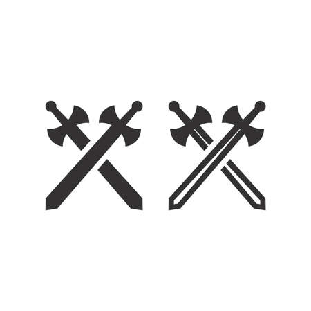 Crossed swords or arms black vector icon. Battle or game symbol.