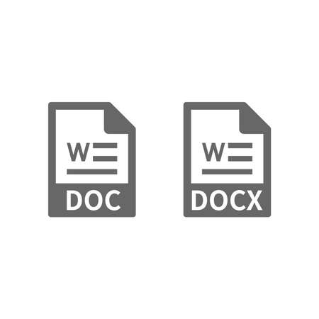 Document file format vector icon. Doc and docx files buttons.