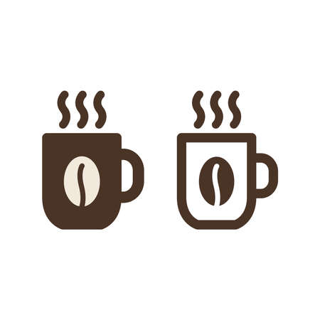Coffee cup vector icon. Hot mug with steam symbol.