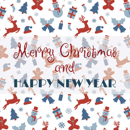 Merry Christmas and Happy New Year card design. Christmas card with deer, ball, tree pattern.