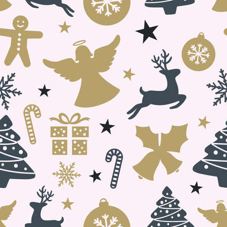 Colorful Christmas seamless pattern. Deer, angel, christmas ball pattern for paper or print.