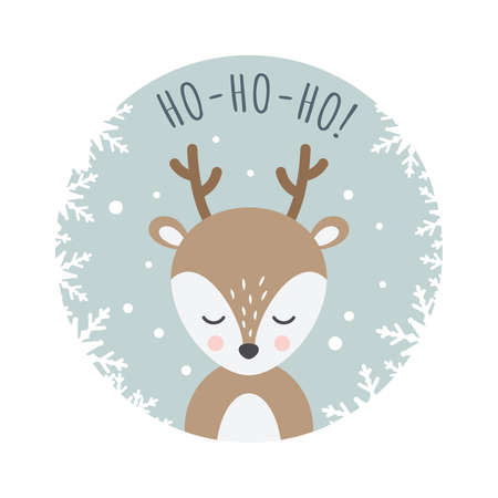 Christmas card with reindeer cartoon. Deer cute character with ho ho ho text, christmas and new year design.