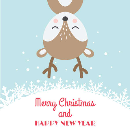 Christmas card with reindeer cartoon. Deer cute character with Merry Christmas and Happy New Year text.
