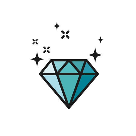 Shiny blue diamond icon. Colorful brilliant gemstone symbol.