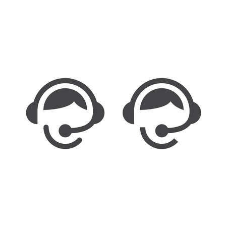 Call centre operator with headset. Customer support with headphones and microphone black vector icon. Illustration