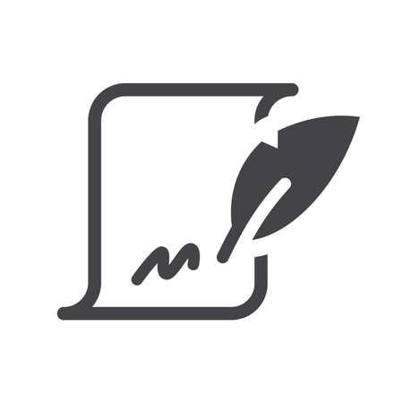 Quill pen with signature on paper simple symbol. Ilustração