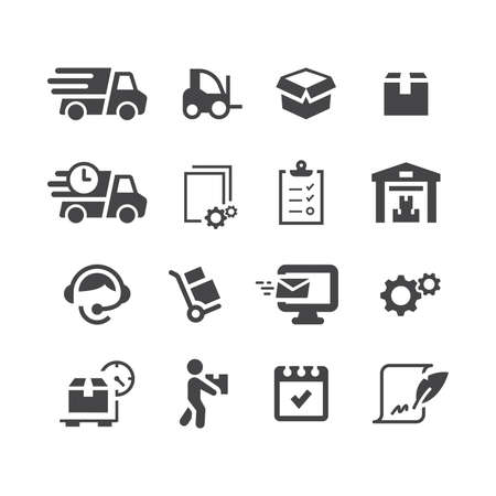Fulfillment black vector icon set.