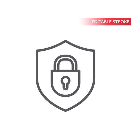 Padlock with shield outline icon.