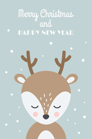 Christmas card with reindeer cartoon. Deer cute character with Merry Christmas and Happy New Year text, 10x15 ratio. Illustration