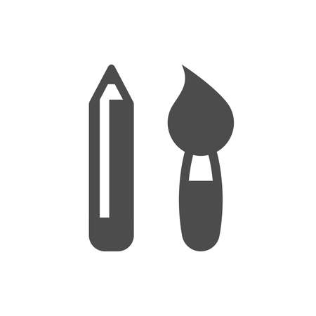 Paint brush and pencil black vector icon. Glyph pictogram symbols. Illustration