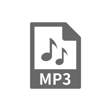 Mp3 file format vector icon. Music file with notes web button. Illustration