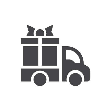 Gift box and delivery truck icon. Free delivery service black vector symbol. Illustration