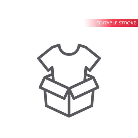 Open box with t-shirt line vector icon. Parcel or package outline symbol. Ilustração