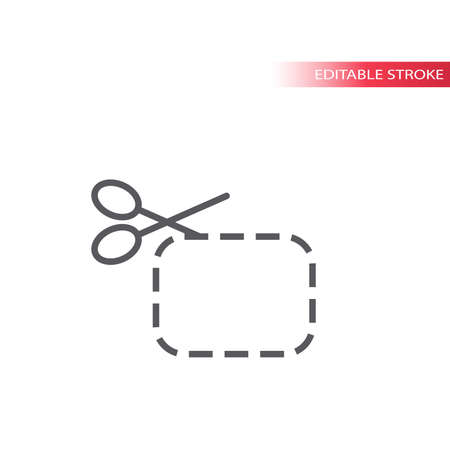 Scissors with cut line line vector icon. Discount with dashed line outline symbol.