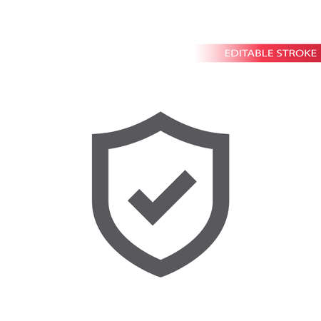 Shield and tick or check mark vector icon. Safety, security concept line symbol with checkmark, editable stroke. 版權商用圖片 - 159508693