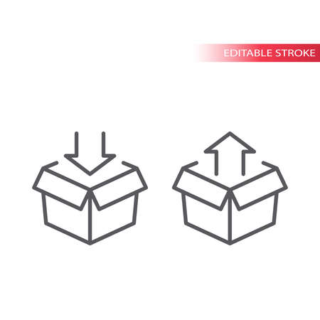 Open box parcel with arrow line vector icon. Delivery package outline symbol. 向量圖像