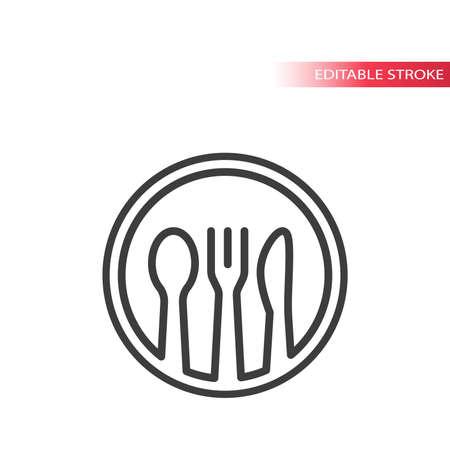Restaurant, meal or food logo. Plate, fork, knife and spoon line vector icon, editable stroke. 向量圖像